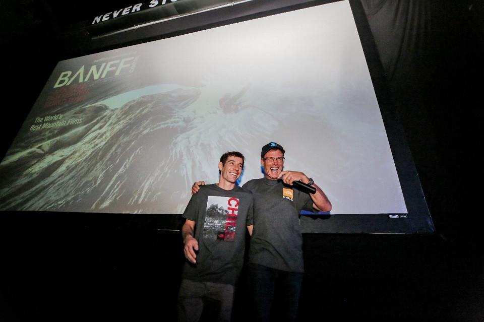 Alex Honnold y Conrad Anker presentando Free Solo